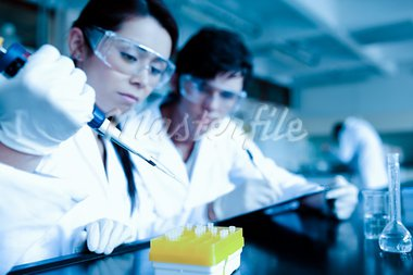 Cute scientist dropping liquid in test tubes while her partner is taking notes in a laboratory Stock Photo - Royalty-Free, Artist: 4774344sean                   , Code: 400-05684501
