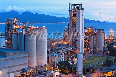cement factory at night Stock Photo - Royalty-Free, Artist: leungchopan                   , Code: 400-05684605