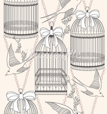 Seamless pattern with birdcages, flowers and birds. Floral and swallow background. Stock Photo - Royalty-Free, Artist: lapesnape                     , Code: 400-05685179