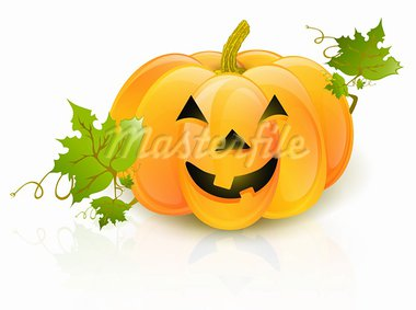 Big Halloween pumpkin with green leaves over white background Stock Photo - Royalty-Free, Artist: SNR                           , Code: 400-05685589