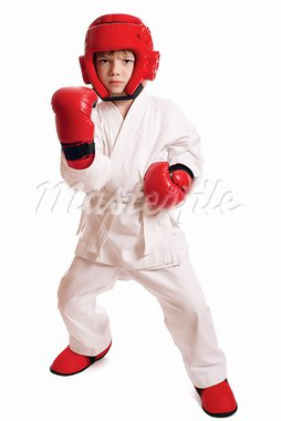 Young boy in kimono ready to fight over pure white background Stock Photo - Royalty-Free, Artist: Paleka                        , Code: 400-05685617