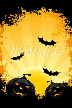 Grungy Halloween background with pumpkins bats and full moon Stock Photo - Royalty-Free, Artist: WaD                           , Code: 400-05686087