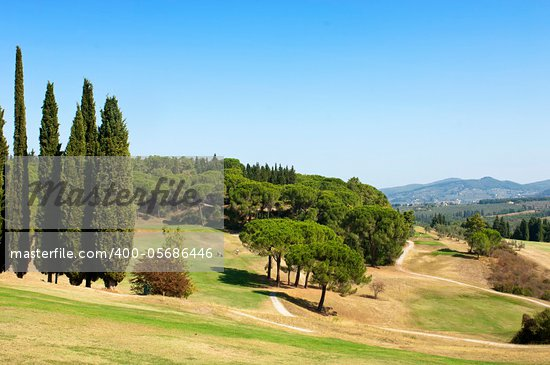 Beautiful golf course, situated in the hills of Tuscany, Italy Stock Photo - Royalty-Free, Artist: corepics                      , Code: 400-05686446