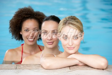 Three Female Friends In Swimming Pool Stock Photo - Royalty-Free, Artist: MonkeyBusinessImages          , Code: 400-05686735