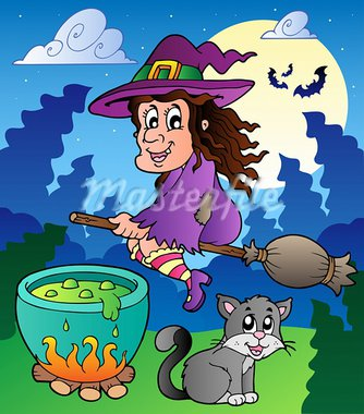 Halloween character scene 2 - vector illustration. Stock Photo - Royalty-Free, Artist: clairev                       , Code: 400-05686875