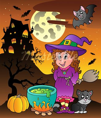 Scene with Halloween theme 3 - vector illustration. Stock Photo - Royalty-Free, Artist: clairev                       , Code: 400-05686883