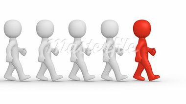 Marching 3d men with leader. Stock Photo - Royalty-Free, Artist: Viktor88                      , Code: 400-05687147