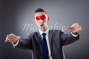 Businessman blinded by red tape Stock Photo - Royalty-Free, Artist: ElnurCrestock                 , Code: 400-05687685