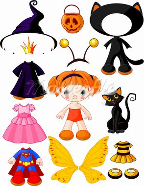 Paper Doll with three dresses for Halloween Party Stock Photo - Royalty-Free, Artist: Dazdraperma                   , Code: 400-05687797
