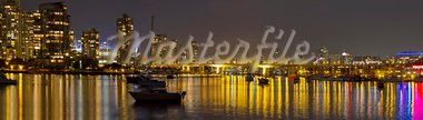 Vancouver BC Skyline and Cambie Bridge at Night Panorama Stock Photo - Royalty-Free, Artist: jpldesigns                    , Code: 400-05687923