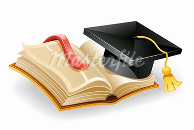 Vector illustration of graduation cap and open book. Isolated on white background. Stock Photo - Royalty-Free, Artist: Filata                        , Code: 400-05689269