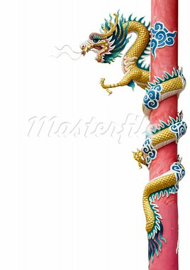 Golden Chinese Dragon Wrapped around red pole on white background Stock Photo - Royalty-Free, Artist: nuttakit                      , Code: 400-05689745