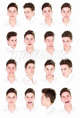 Collage with 16 portraits of a young man isolated on white background Stock Photo - Royalty-Free, Artist: gemenacom                     , Code: 400-05690037
