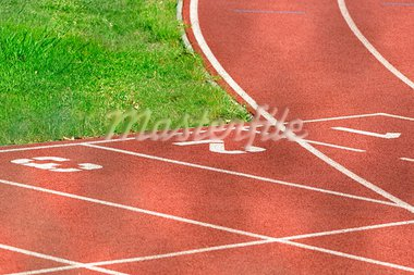 Detail of an athletics running track Stock Photo - Royalty-Free, Artist: ruigsantos                    , Code: 400-05690379