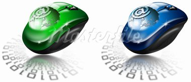 Two illustrations with globe coming out of the mouse and sign e-mail Stock Photo - Royalty-Free, Artist: catalby                       , Code: 400-05690443