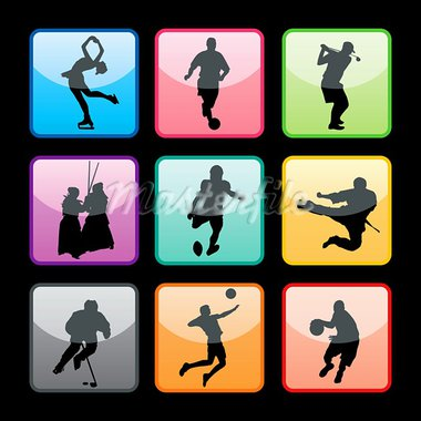 Sport buttons set 04 Stock Photo - Royalty-Free, Artist: kaludov                       , Code: 400-05690489