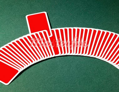 studio photography of spread out playing cards in a row with one chosen, located on green felt background Stock Photo - Royalty-Free, Artist: prill                         , Code: 400-05691197