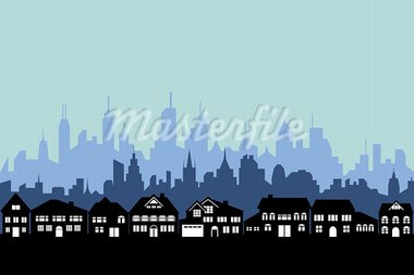 Suburbs and the urban city silhouette Stock Photo - Royalty-Free, Artist: soleilc                       , Code: 400-05692094