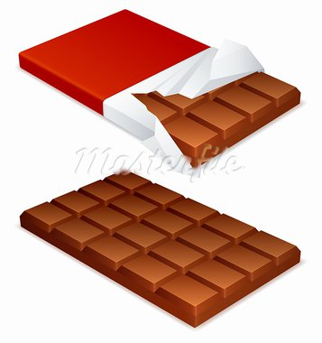Wrapped and unwrapped chocolate bar. Stock Photo - Royalty-Free, Artist: timurock                      , Code: 400-05692353