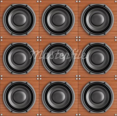 Group of black speaker on wood - rendering Stock Photo - Royalty-Free, Artist: archidea                      , Code: 400-05692395