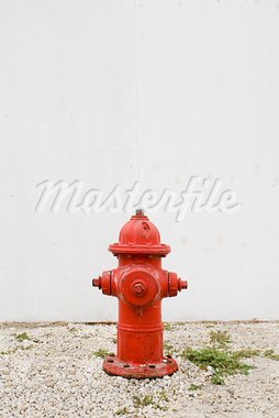 red hydrant in front of plain white fence Stock Photo - Royalty-Free, Artist: HerrBullermann                , Code: 400-05692603