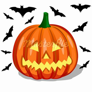 pumpkin and bats Stock Photo - Royalty-Free, Artist: lemony                        , Code: 400-05692677