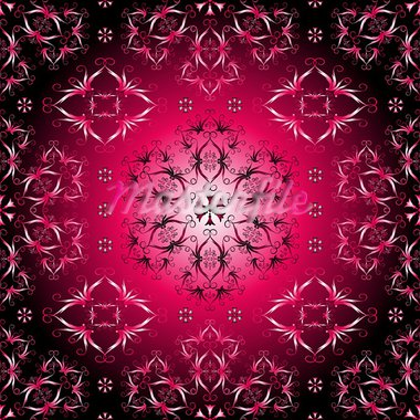 Pink, purple and black seamless pattern with vintage ornament (vector) Stock Photo - Royalty-Free, Artist: OlgaDrozd                     , Code: 400-05692793
