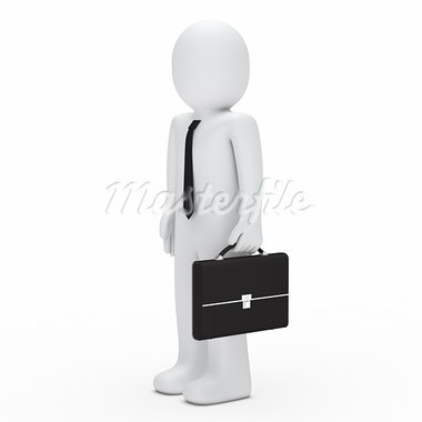 3d business man with tie and briefcase Stock Photo - Royalty-Free, Artist: dak                           , Code: 400-05693062