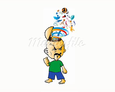 cartooned man with quiz elements out of his head Stock Photo - Royalty-Free, Artist: dancelav                      , Code: 400-05693095