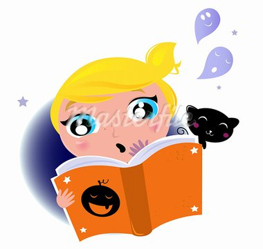 Little Girl reading Halloween book, Ghosts, Black cat. Vector cartoon Illustration.  Stock Photo - Royalty-Free, Artist: lordalea                      , Code: 400-05693530