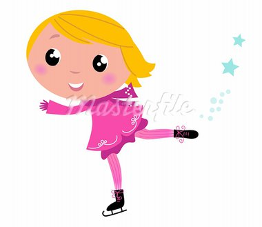 Cute little Christmas Girl ice skating. Vector cartoon Illustration.  Stock Photo - Royalty-Free, Artist: lordalea                      , Code: 400-05693532