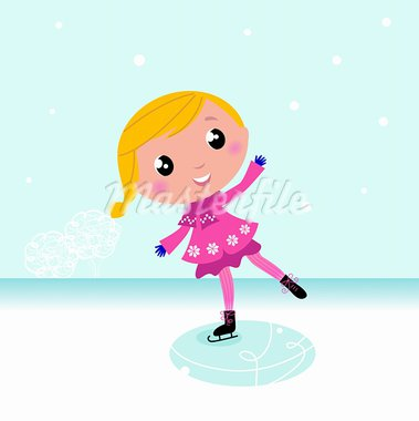 Cute little Christmas Girl ice skating. Vector cartoon Illustration.  Stock Photo - Royalty-Free, Artist: lordalea                      , Code: 400-05693533