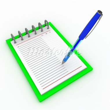 Pen on a notebook on a white background Stock Photo - Royalty-Free, Artist: tashatuvango                  , Code: 400-05693802