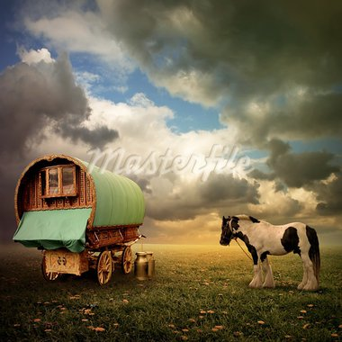 An Old Gypsy Caravan, Trailer, Wagon with a Horse Stock Photo - Royalty-Free, Artist: Binkski                       , Code: 400-05694033