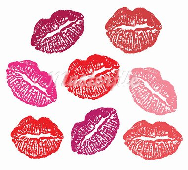 Set of lipstick marks  on a white background. Vector Stock Photo - Royalty-Free, Artist: vadimmmus                     , Code: 400-05694115