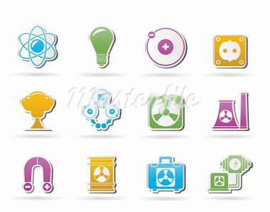 Atomic and Nuclear Energy Icons - vector icon set Stock Photo - Royalty-Free, Artist: stoyanh                       , Code: 400-05694491