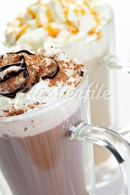 Hot chocolate and coffee latte beverages with whipped cream Stock Photo - Royalty-Free, Artist: Elenathewise                  , Code: 400-05695723
