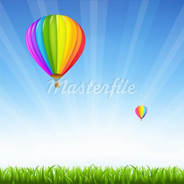 Grass And Two Hot Air Balloons, Vector Illustration Stock Photo - Royalty-Free, Artist: barbaliss                     , Code: 400-05698599