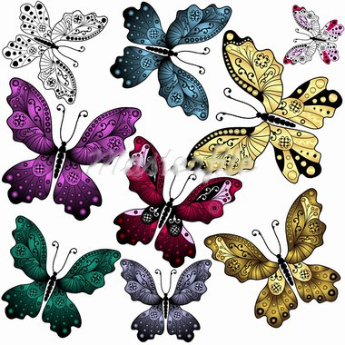 Collection abstract colorful butterflies on white (vector) Stock Photo - Royalty-Free, Artist: OlgaDrozd                     , Code: 400-05698788