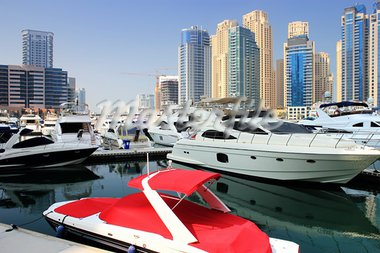 small speed red boat in yaght bay dubai Stock Photo - Royalty-Free, Artist: radodn                        , Code: 400-05698904