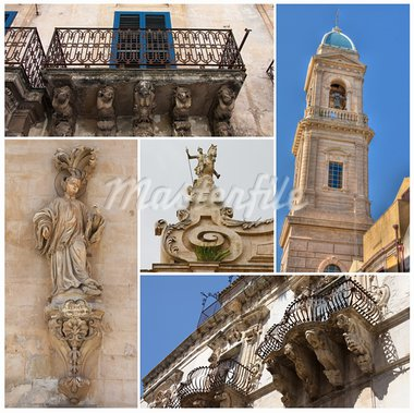 A Collage of Sicily with church, balconies and statues Stock Photo - Royalty-Free, Artist: amphotos_ct                   , Code: 400-05699146