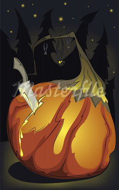 Halloween pumpkin birthday. Layered vector illustration. EPS8. Stock Photo - Royalty-Free, Artist: Popmarleo                     , Code: 400-05699271
