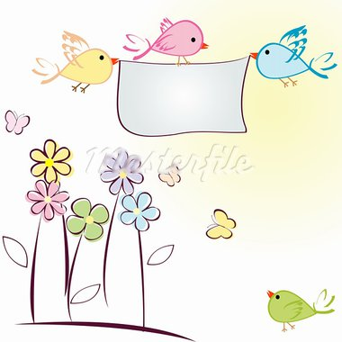 Greeting card with birds, flowers and butterflies Stock Photo - Royalty-Free, Artist: hibrida13                     , Code: 400-05700757