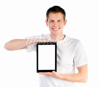 smart guy with the tablet isolated on white Stock Photo - Royalty-Free, Artist: GekaSkr                       , Code: 400-05701143