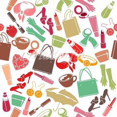 Seamless colorful pattern with woman's things Stock Photo - Royalty-Free, Artist: nurrka                        , Code: 400-05701303