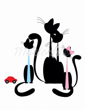 Cat family - black silhouette on white background. Stock Photo - Royalty-Free, Artist: Irinavk                       , Code: 400-05701381