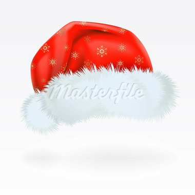 Red Santa Claus hat with the pattern of golden snowflakes . Mesh. Stock Photo - Royalty-Free, Artist: Lep                           , Code: 400-05701389