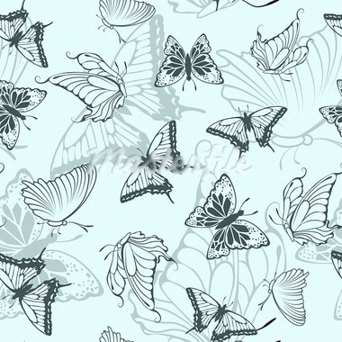 Seamless vector butterfly pattern. For easy making seamless pattern just drag all group into swatches bar, and use it for filling any contours. Stock Photo - Royalty-Free, Artist: angelp                        , Code: 400-05701665
