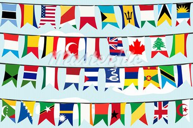Different flags on strings Stock Photo - Royalty-Free, Artist: hibrida13                     , Code: 400-05701801