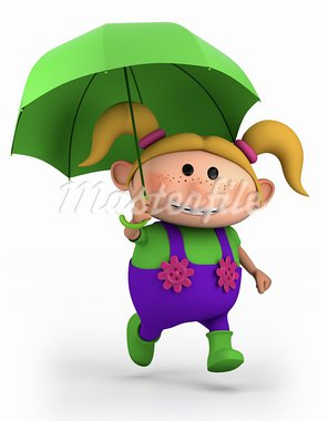 cute school girl with umbrella - high quality 3d illustration Stock Photo - Royalty-Free, Artist: braverabbit                   , Code: 400-05702089